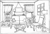 Coloring Drawing Living Clipart Perspective Bedroom Pages Point Furniture Interior Sofa Outline Modern Drawings Sketches Sketch Space Draw Retro Buildings sketch template