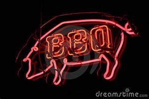BBQ Pig Neon Sign Royalty Free Stock s Image