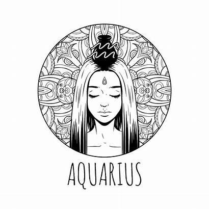Zodiac Coloring Aquarius Printable Horoscope Symbol Feb