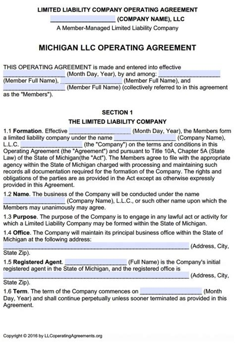 michigan multi member llc operating agreement  llc