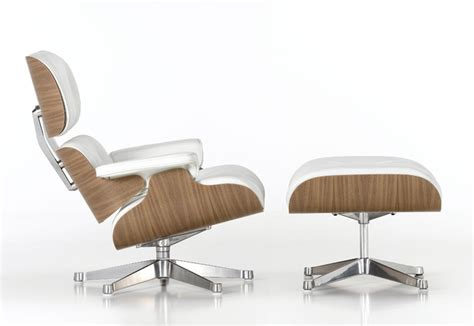 Vitra Poltrona Pelle Bianca Lounge Chair & Ottoman Nuove