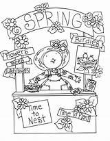 Spring Coloring Stamps Digi Primitive Birdie Booth Deariedollsdigis sketch template