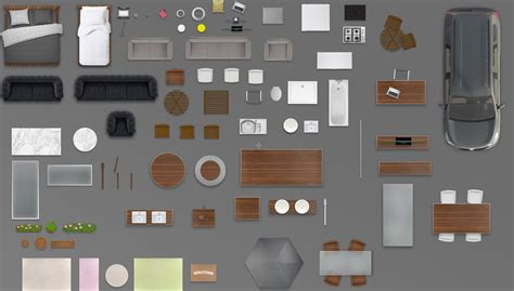 furniture floorplan top view psd  model render black