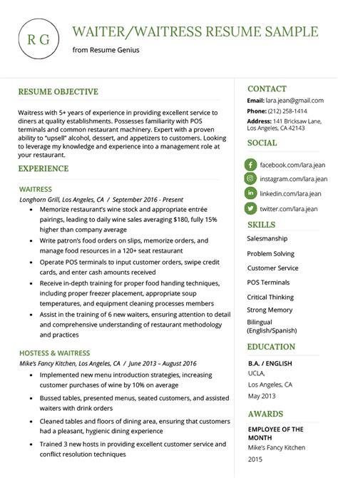 waiter waitress resume  writing tips resume