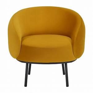 Fauteuil En Velours : cajou fauteuil cabriolet en velours jaune habitat habitat ~ Dode.kayakingforconservation.com Idées de Décoration