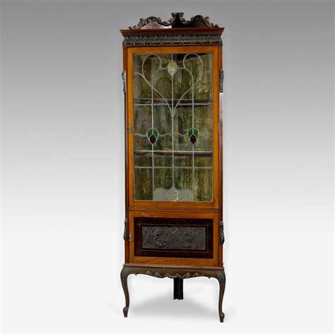leaded light corner display cabinet antique furniture