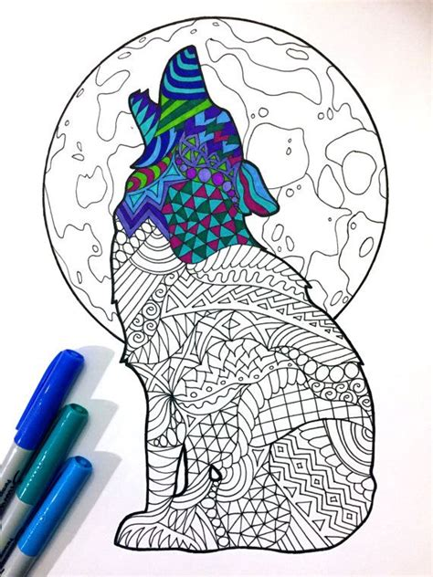 howling wolf  zentangle coloring page