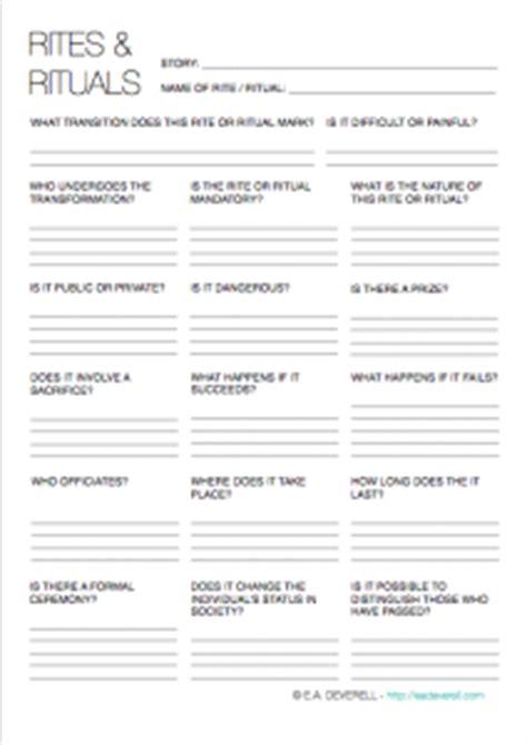 world building template rites rituals writing worksheet wednesday