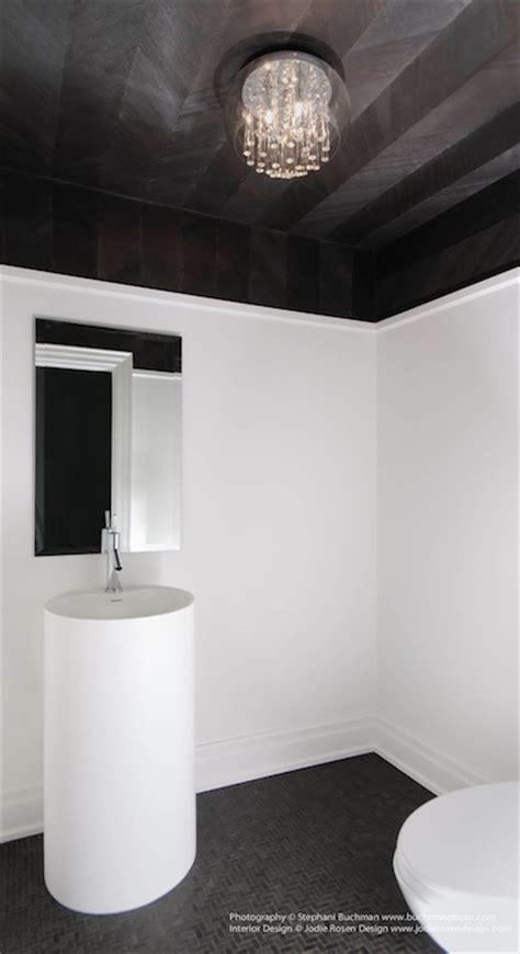 black pedestal sink herringbone ceiling contemporary bathroom stephani