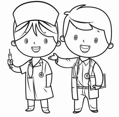 Doctor Coloring Nurse Clip Illustrations Vector