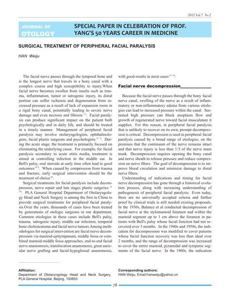 (PDF) Surgical Treatment of Peripheral Facial Paralysis