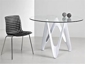 Plateau En Verre Rond : vr24 table ronde en r sine avec plateau en verre ~ Teatrodelosmanantiales.com Idées de Décoration