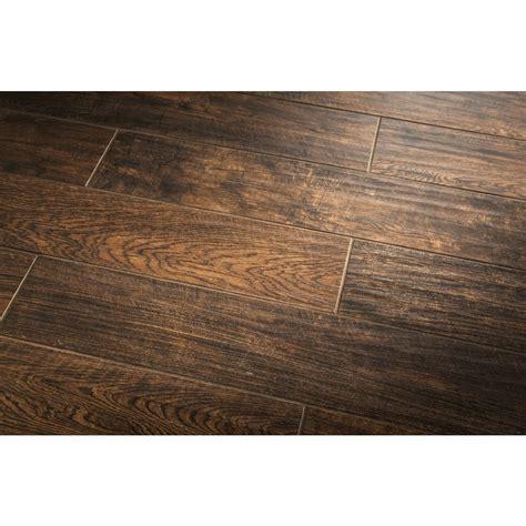 outdoor porcelain wood tile shop style selections natural timber chestnut glazed porcelain indoor outdoor floor tile common