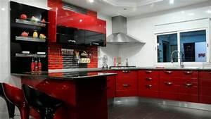 Meuble Cuisine Rouge Laqué : meuble cuisine rouge laqu youtube ~ Teatrodelosmanantiales.com Idées de Décoration
