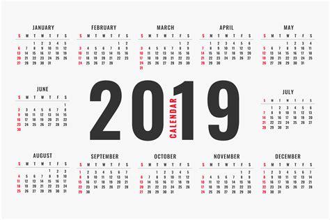 2019 Calendar Free Vector Art