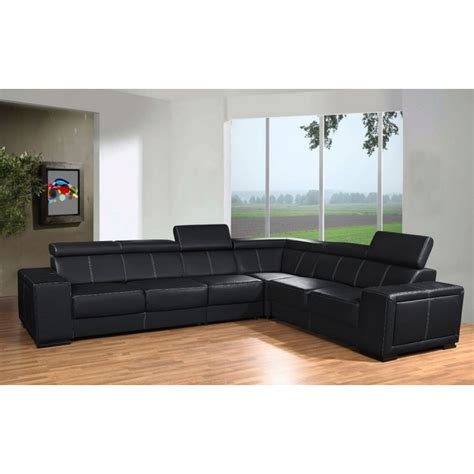 chambre complete adulte pas cher moderne canapé d 39 angle de grande taille 6 places caaria noir en