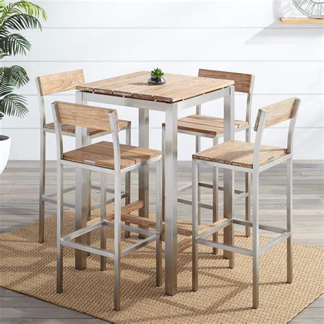 Macon Piece Square Teak Outdoor Bar Table Set Whitewash