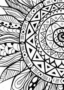 Mano dibujada zentangle ornamento de girasoles para colorear libro Vector de stock © luaeva