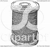 Spool Sewing Thread Clipart Illustration Royalty Vector Retro Prawny Background sketch template