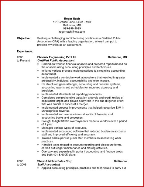 resume for an accountant accountant objective for resume resume ideas