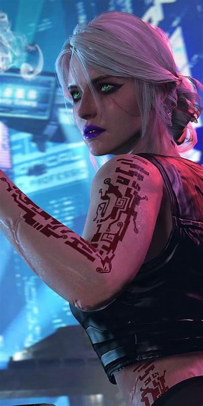 Cyberpunk Ciri 2077 Witcher Artwork Wallpapers Aesthetic