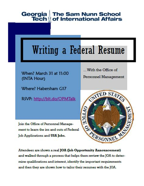 writing a federal resume workshop inta undergraduate