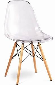Chaise Transparente Pied Bois : chaise transparente et pieds bois clair inspir e dsw ~ Teatrodelosmanantiales.com Idées de Décoration