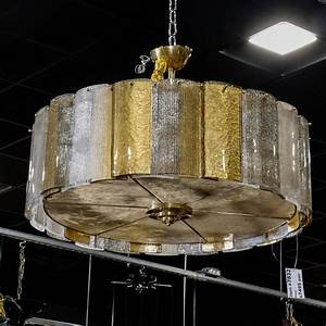 Large murano hanging drum shaped fixture with gold and