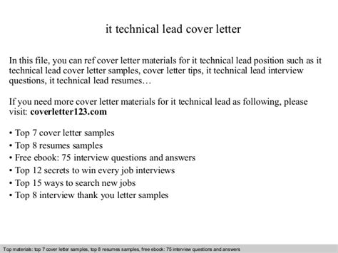 Sle Resume For Technical Lead by It Technical Lead Cover Letter