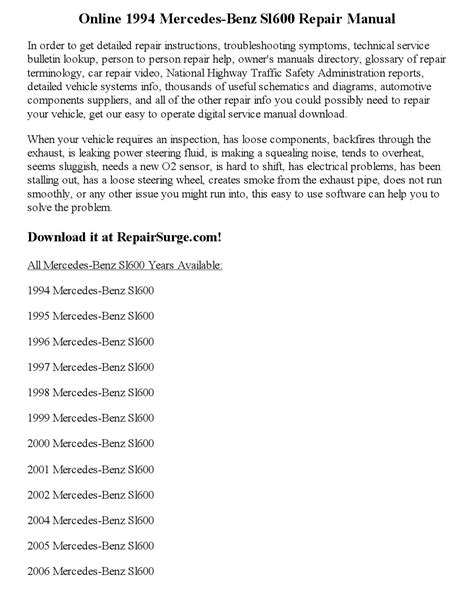 auto repair manual online 1994 mercedes benz sl class head up display 1994 mercedes benz sl600 repair manual online by clark andrew issuu