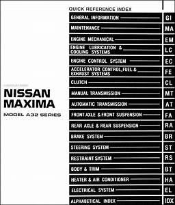 1997 Nissan Maxima Repair Shop Manual Original