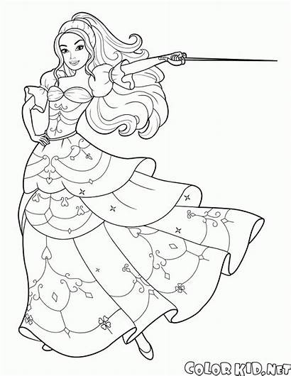 Barbie Coloring Pages Musketeer Sword