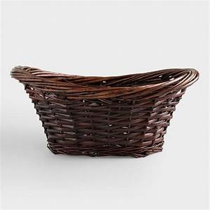 Brown Scooped Oval Willow Basket World Market