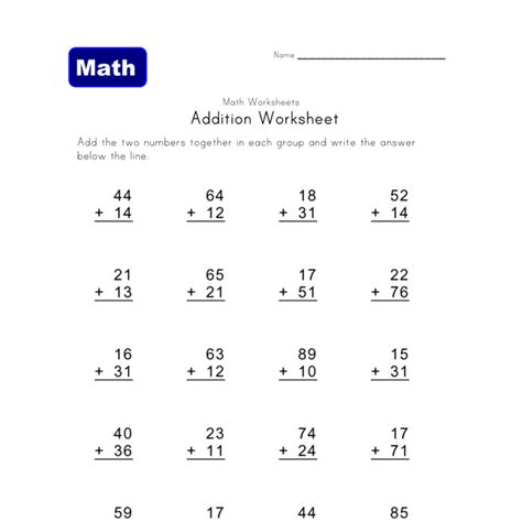 Addition Without Carrying Worksheet 1  All Kids Network