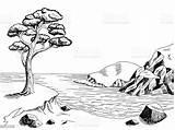 Landscape Sea Coast Graphic Pine Cliff Nero Cartoon Grafische Mare Illustrazione Paesaggio Clipart Overzeese Zwarte Witte Costa Della Sketch Landschap sketch template