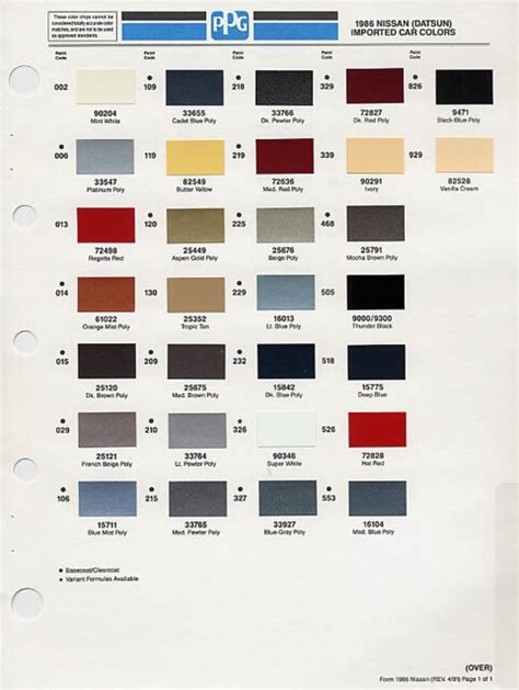 1986 nissan color codes pintopower flickr