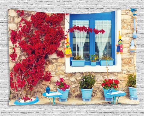 coastal decor tapestry italian decor mediterranean house  greek windows wall hanging