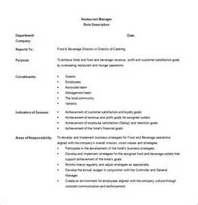 assistant restaurant manager description duties restaurant manager description templates 10 free sle exle format free