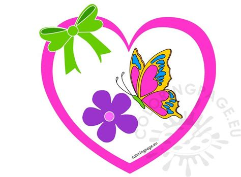 heart  flower  butterfly clipart coloring page