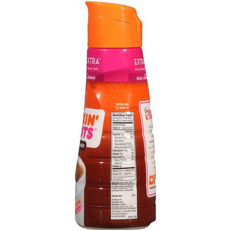 Food database and calorie counter. Dunkin' Donuts Dunkin' Extra Extra Coffee Creamer (32 fl oz) from Safeway - Instacart