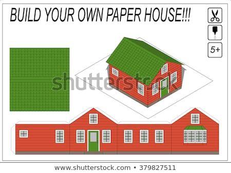 paper model house template paper model stock vector