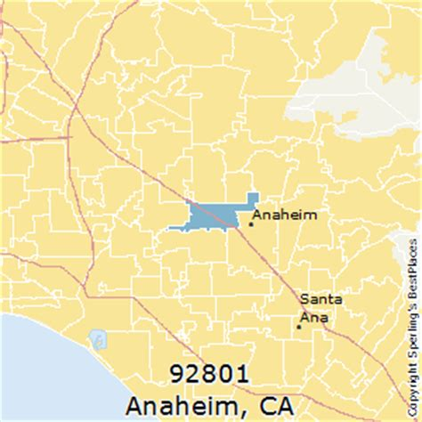 places    anaheim zip  california
