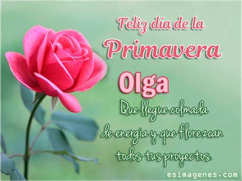Feliz Día de la Primavera Olga Tarjetas con Nombres