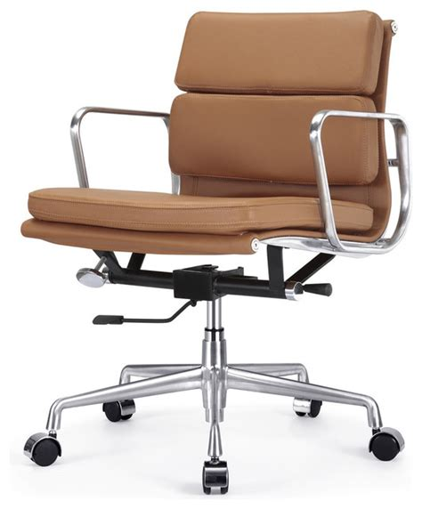 m342 eames style soft pad office chair in brown leather