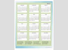 2017 Annual Calendar Design Template Free Printable