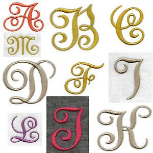 fabric iron  edwardian letters numbers embroidered