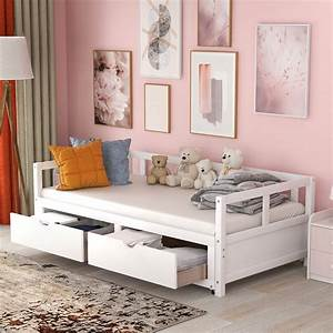 Wooden, Daybed, With, Trundle, And, Two, Storage, Drawers