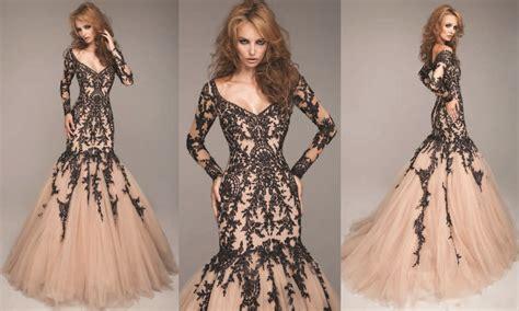 Charming Black Lace Appliques Champagne Color Evening ...