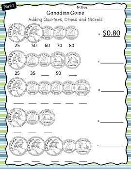 canadian money worksheets grade 2 3 by catch them learning tpt