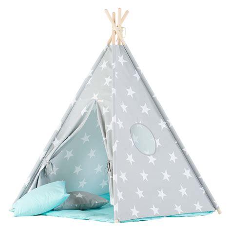 Tipi Kinderzimmer Mint by Wigiwama Spielzelt Tipi Sterne Grau Mint Babyjoe Ch